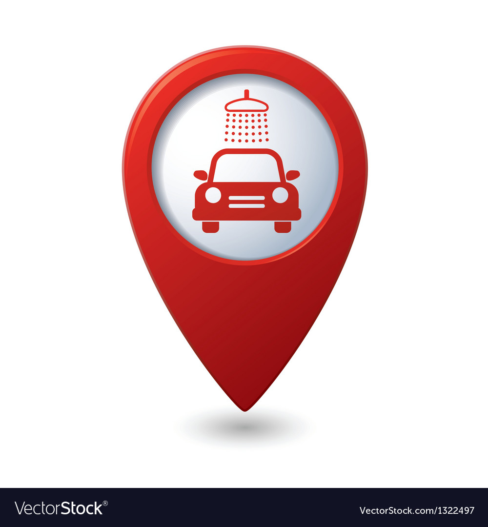 Car wash icon on map pointer vector | Price: 1 Credit (USD $1)