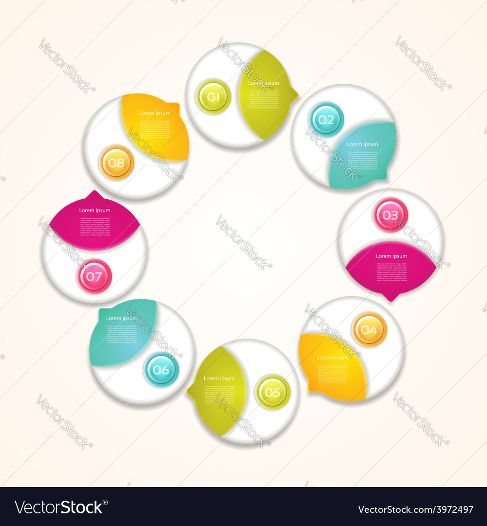 Cyclic diagram with eight steps progress vector | Price: 1 Credit (USD $1)