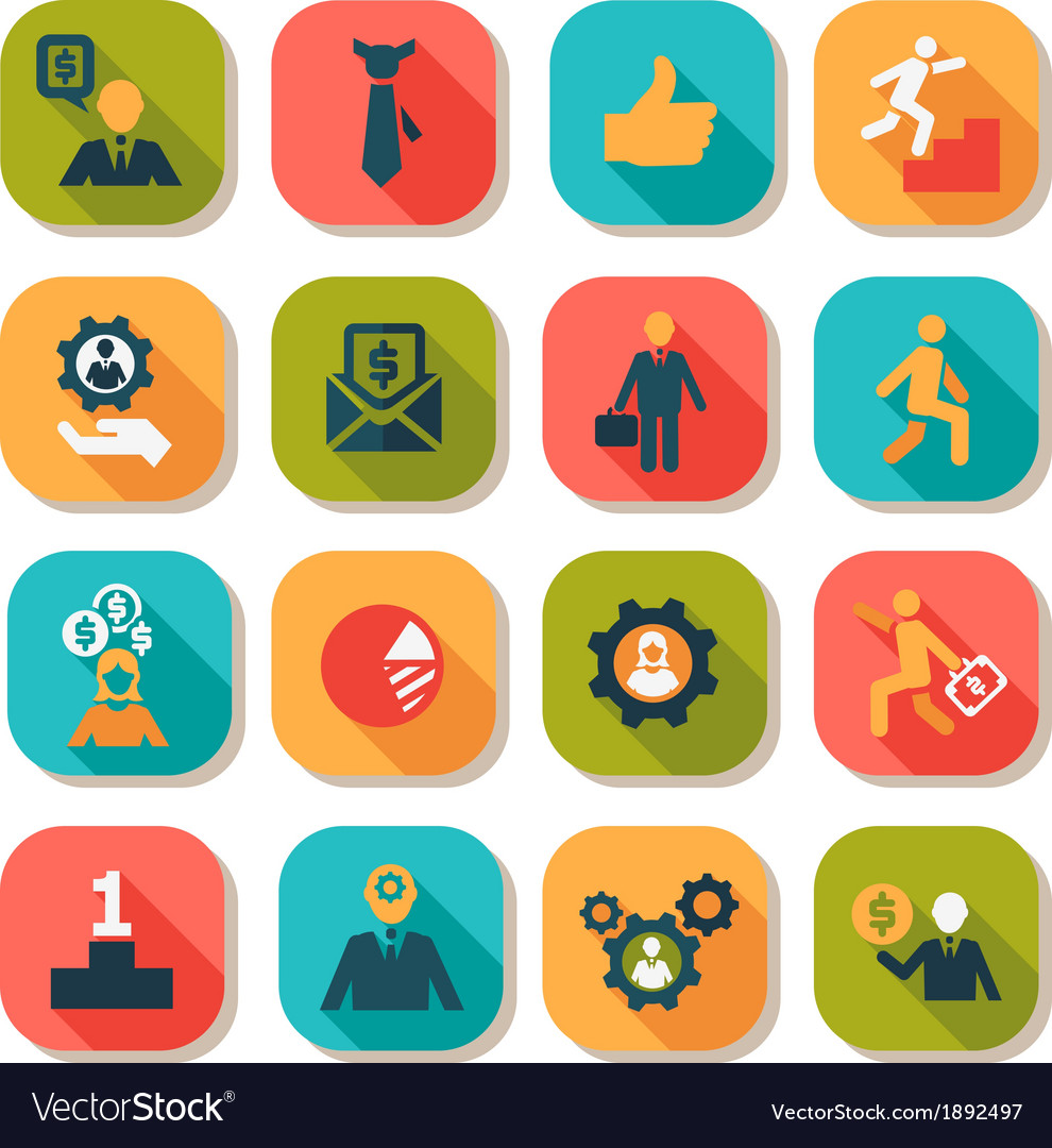 Flat business success icons set vector | Price: 1 Credit (USD $1)
