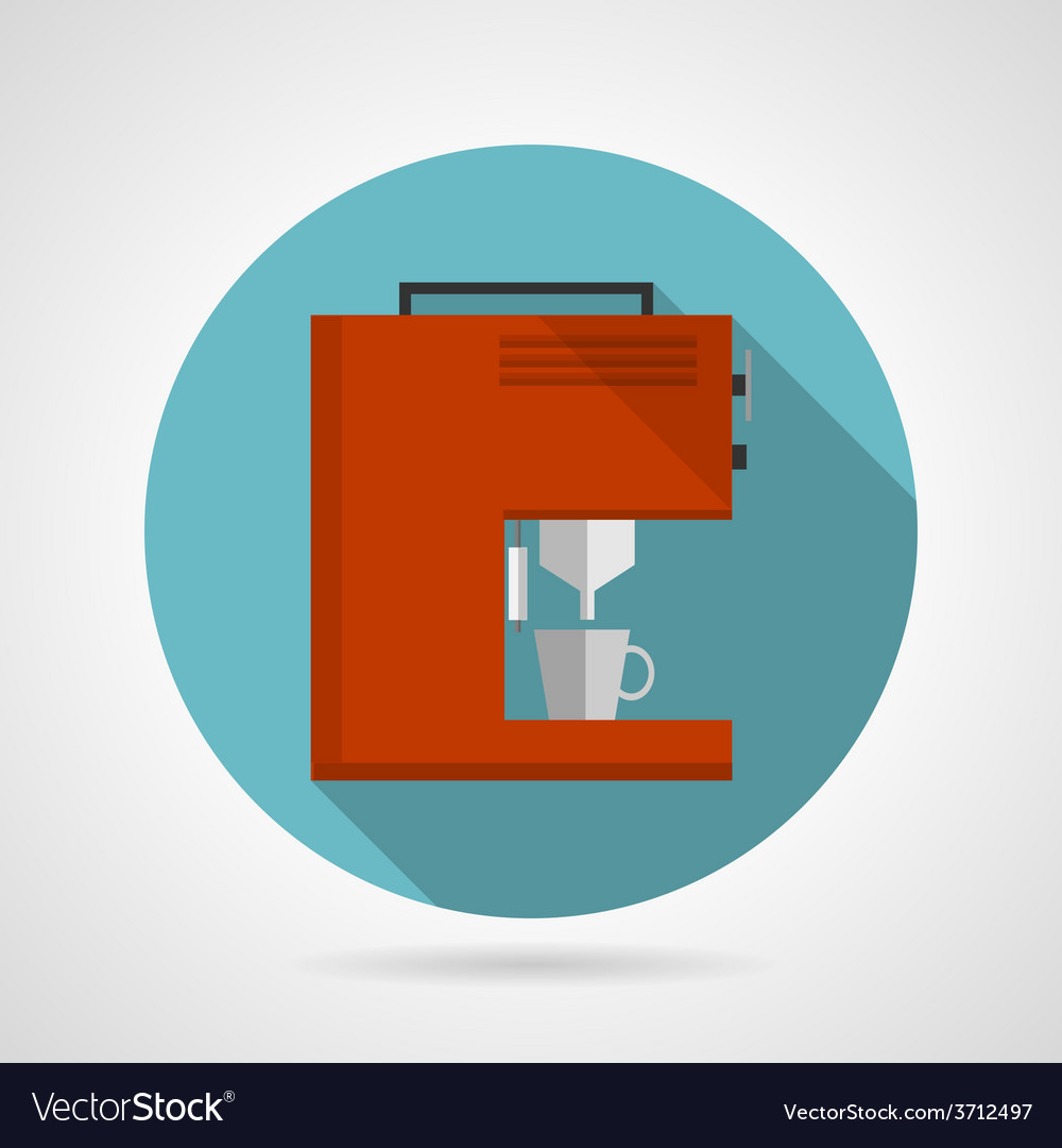 Flat color red coffee machine icon vector | Price: 1 Credit (USD $1)