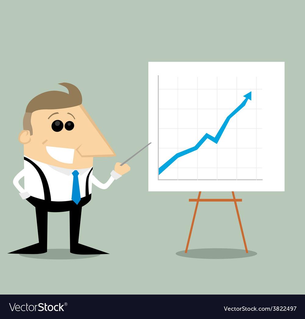 Happy cartoon businessman with presentation graph vector | Price: 1 Credit (USD $1)