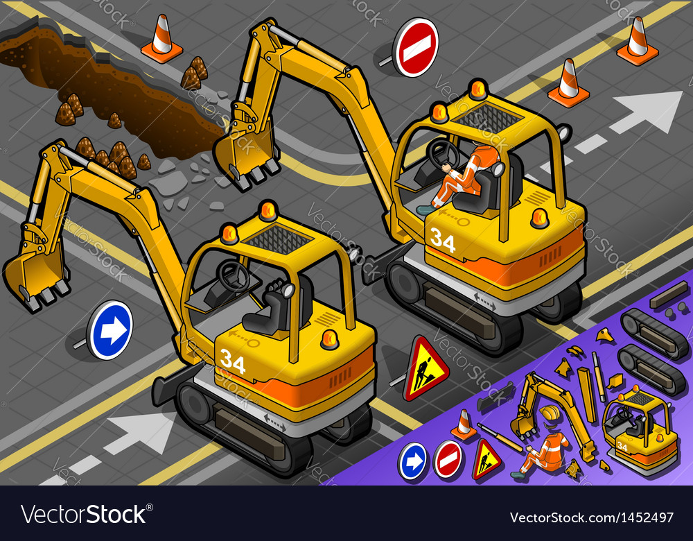 Isometric mini excavator with man at work in rear vector | Price: 1 Credit (USD $1)