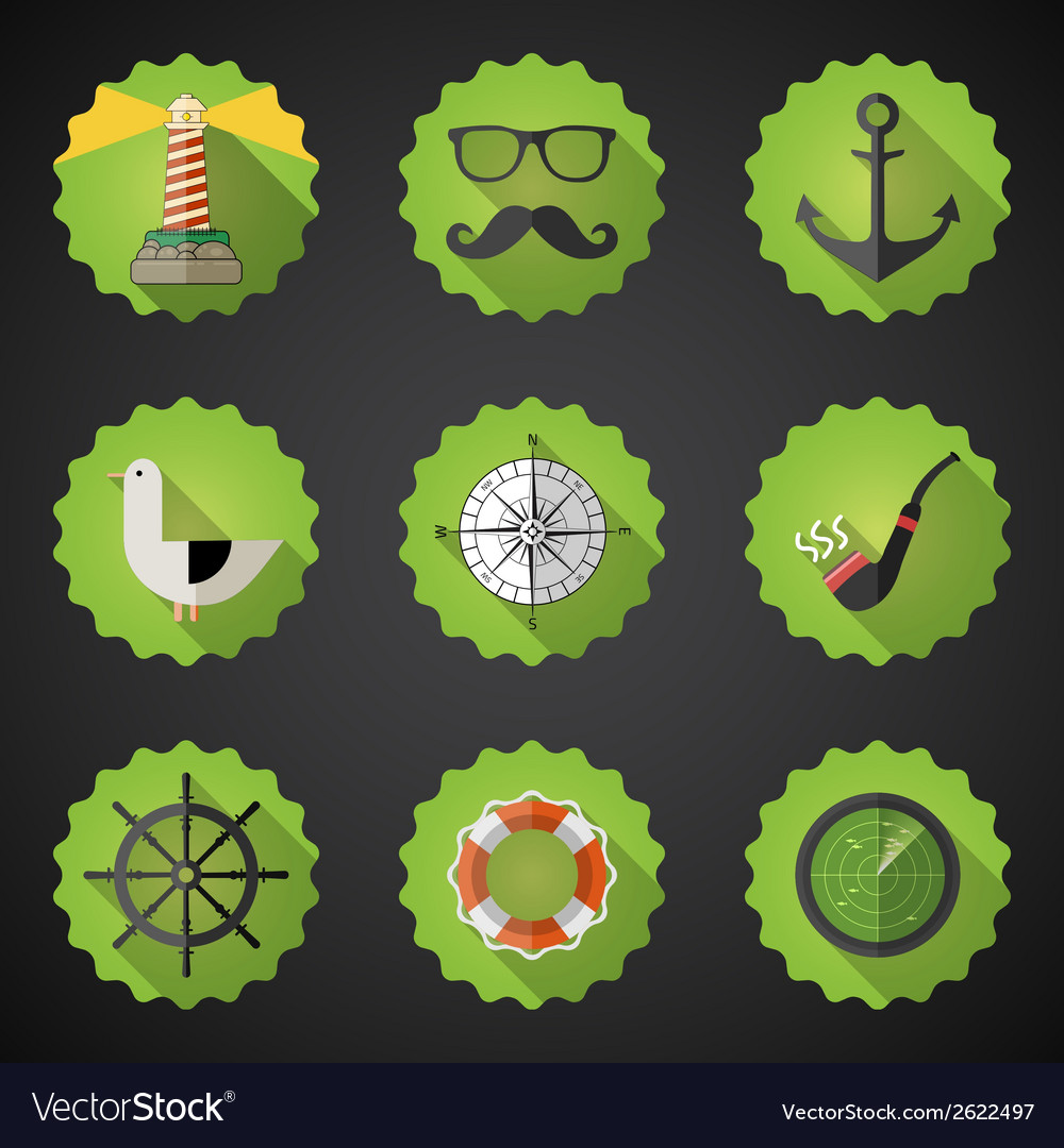 Navy sailor marine flat icon set include fish vector | Price: 1 Credit (USD $1)