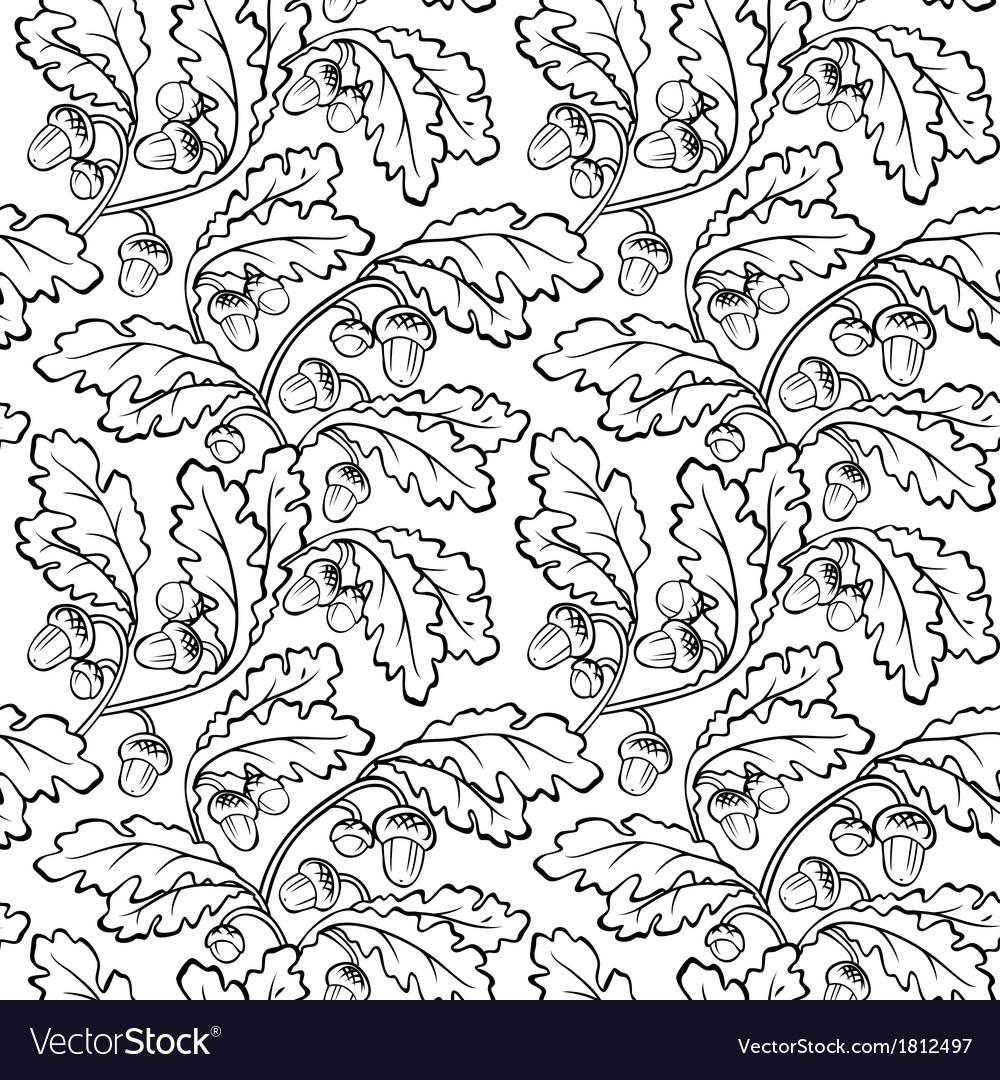 Oak leaf acorn black white seamless background vector | Price: 1 Credit (USD $1)