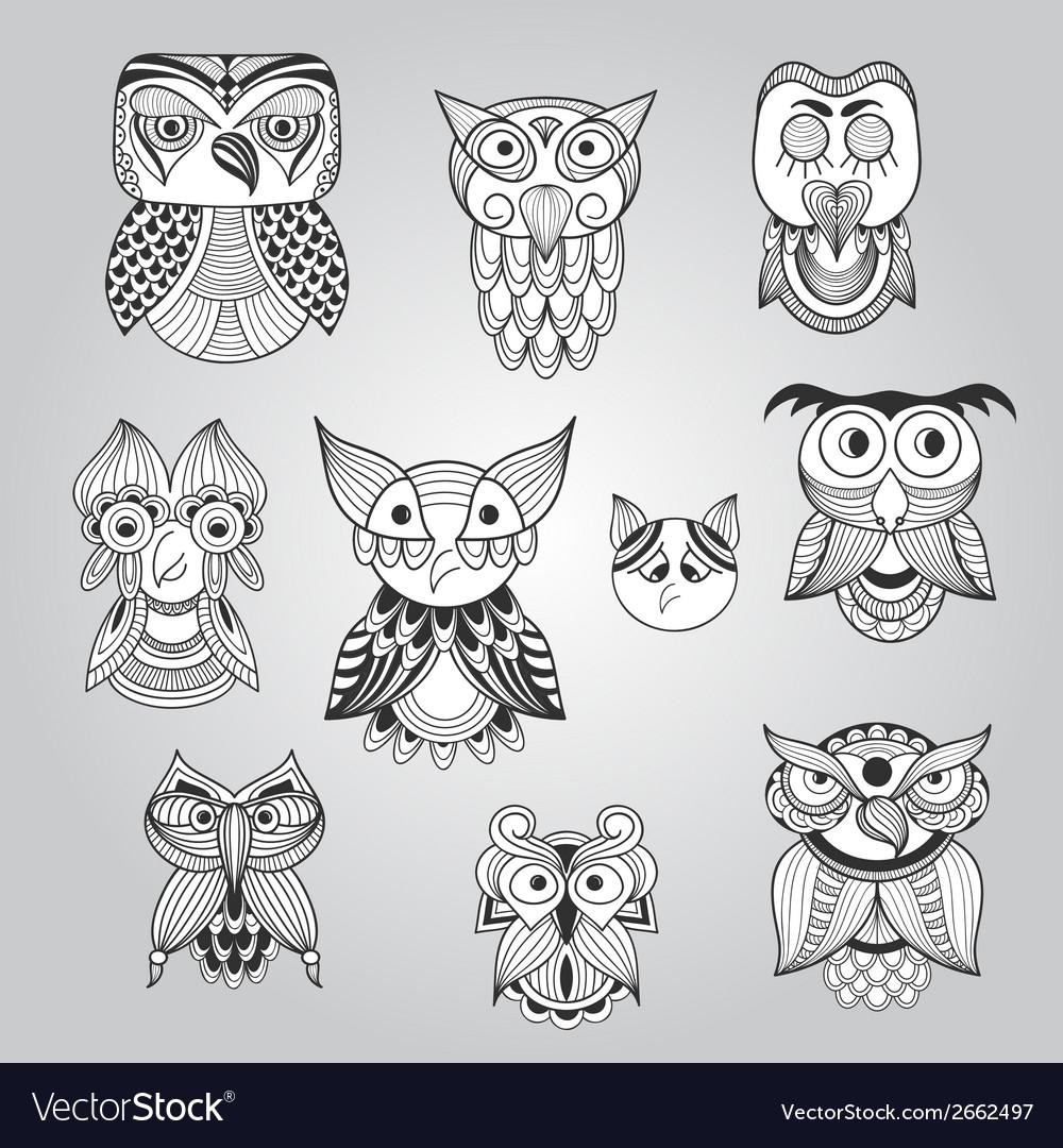 Set of 10 doodle owls vector | Price: 1 Credit (USD $1)