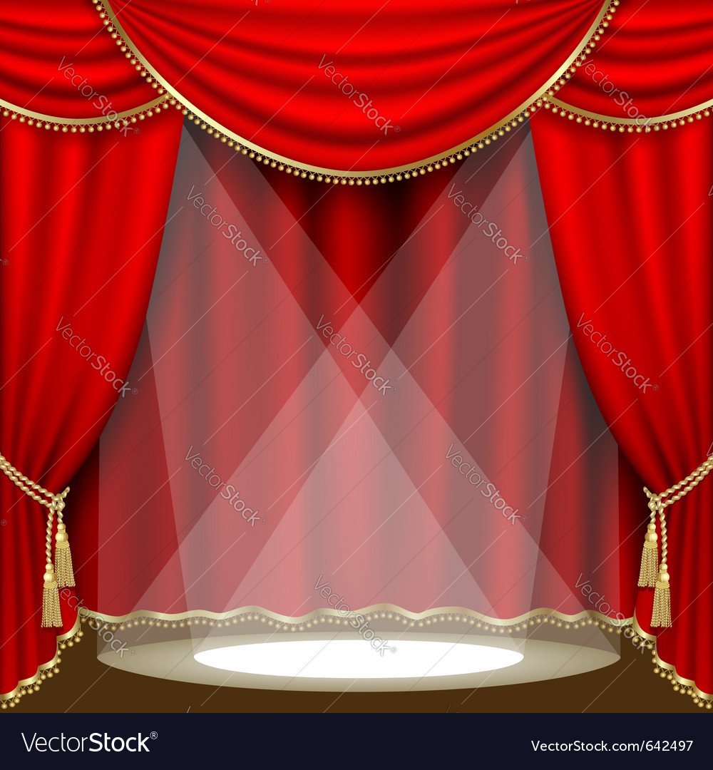 Stage with red curtain vector | Price: 1 Credit (USD $1)