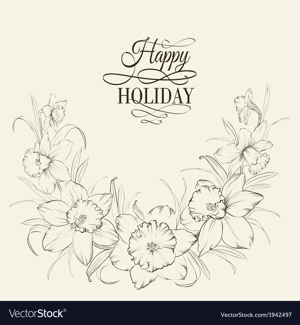 Tied narcissus flowers isolated on white vector   Price: 1 Credit (USD $1)