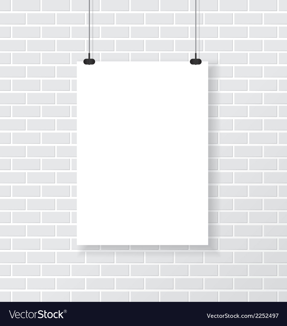 White poster on brick wall vector | Price: 1 Credit (USD $1)