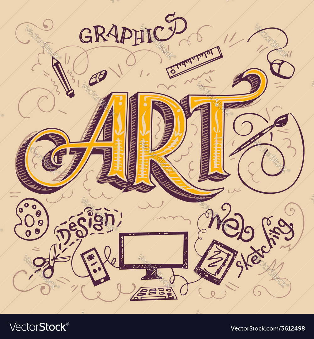 Art hand-lettering typography card vector | Price: 1 Credit (USD $1)
