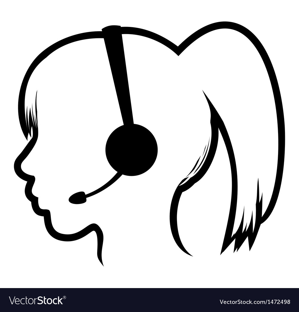 Call center woman icon vector | Price: 1 Credit (USD $1)
