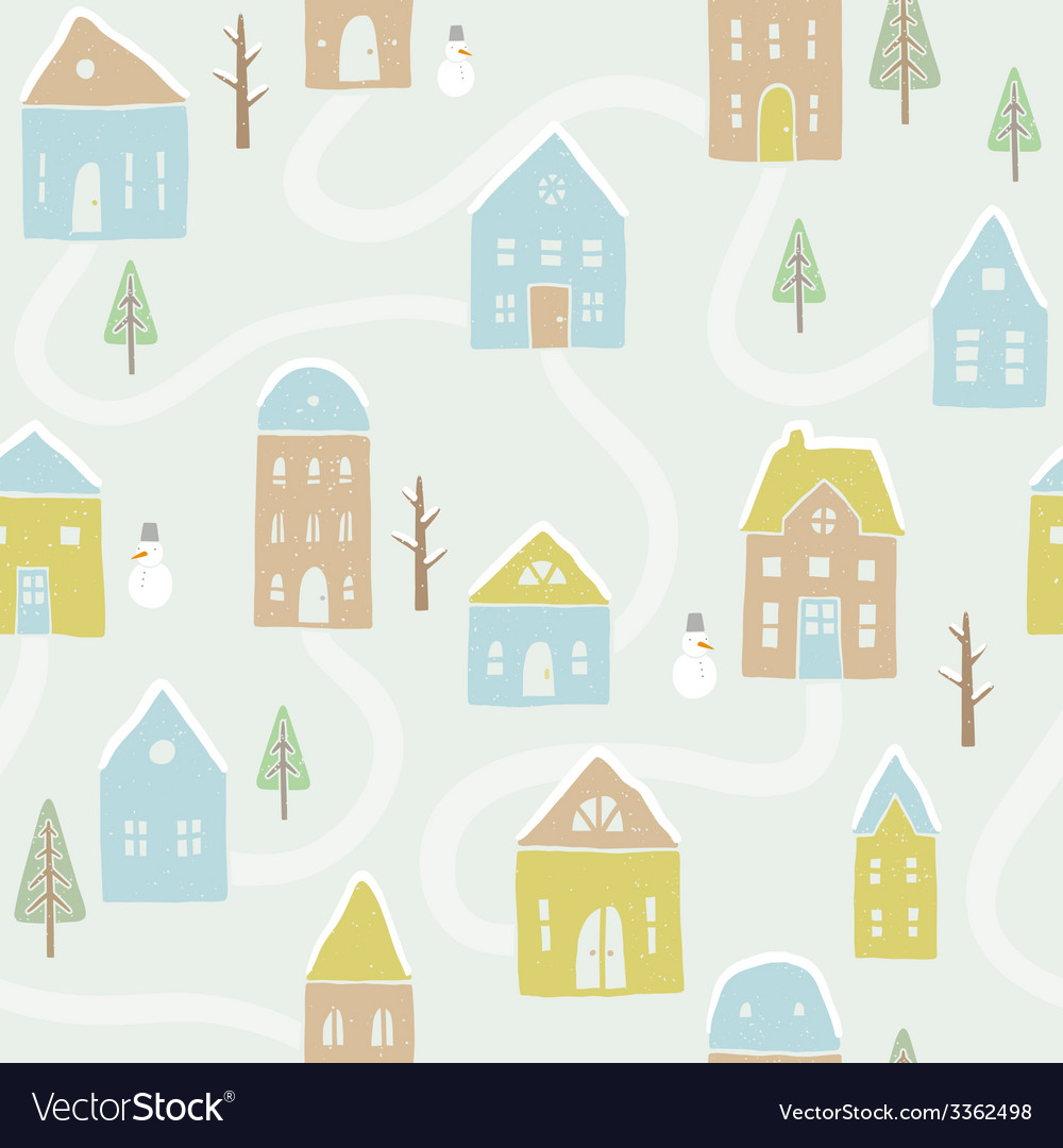 Cute winter houses pattern vector | Price: 1 Credit (USD $1)
