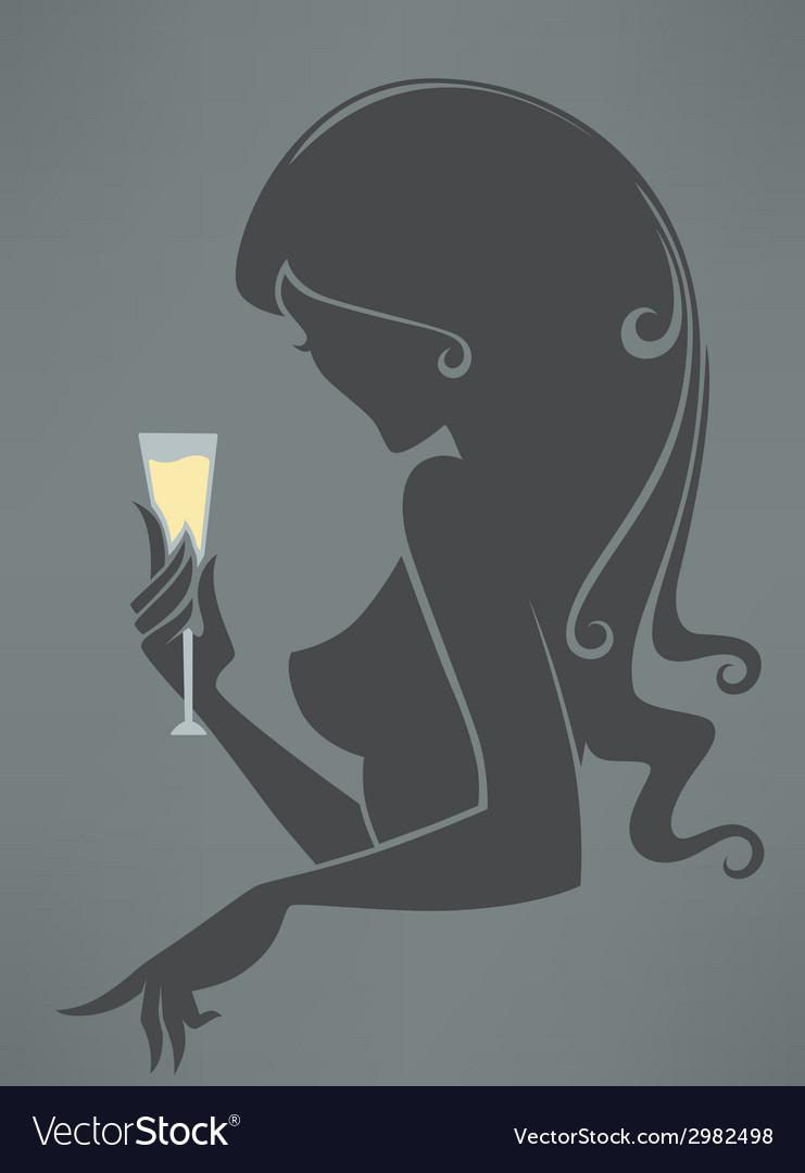 Drinking girl vector | Price: 1 Credit (USD $1)