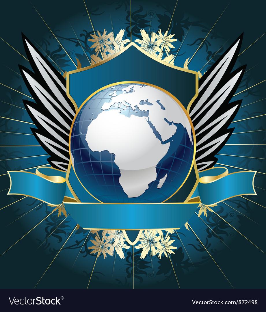 Globe emblem vector | Price: 1 Credit (USD $1)
