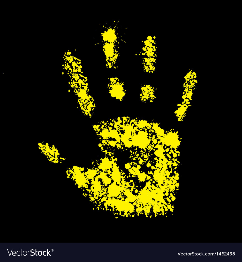 Grunge yellow handprint symbol conceptual vector | Price: 1 Credit (USD $1)
