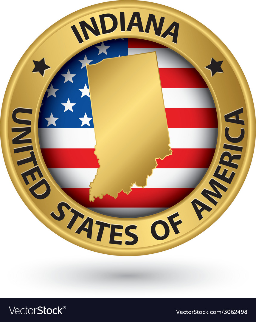 Indiana state gold label with state map vector | Price: 1 Credit (USD $1)