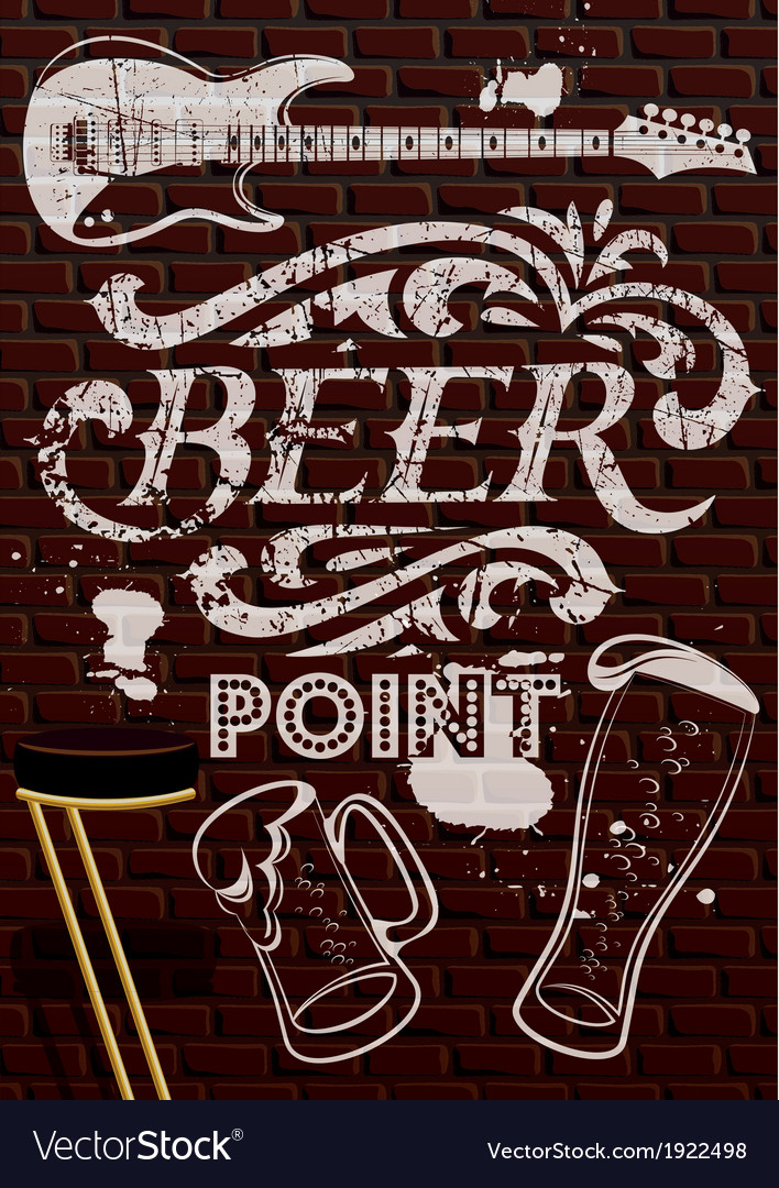 Inscription in white paint with beer glasses vector | Price: 1 Credit (USD $1)