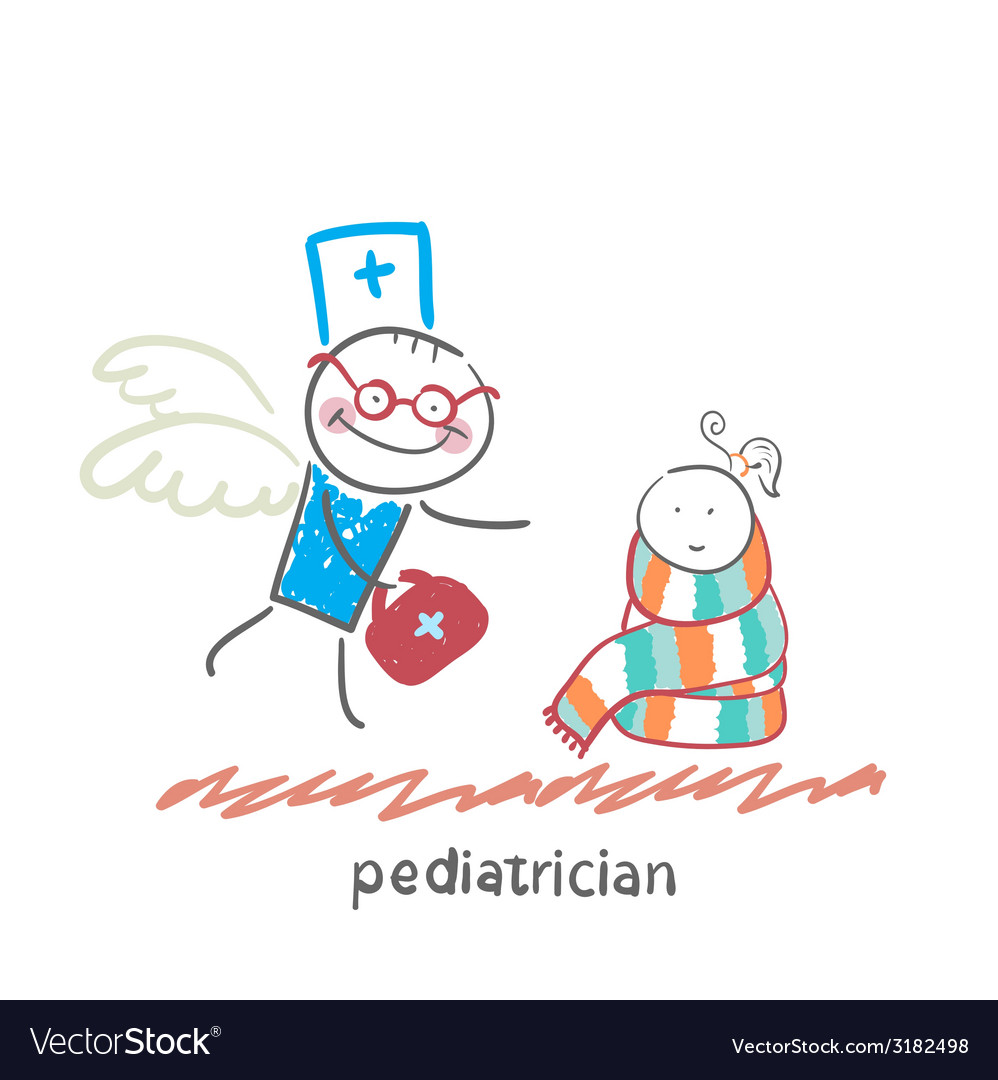 Pediatrician flies to a sick child vector | Price: 1 Credit (USD $1)