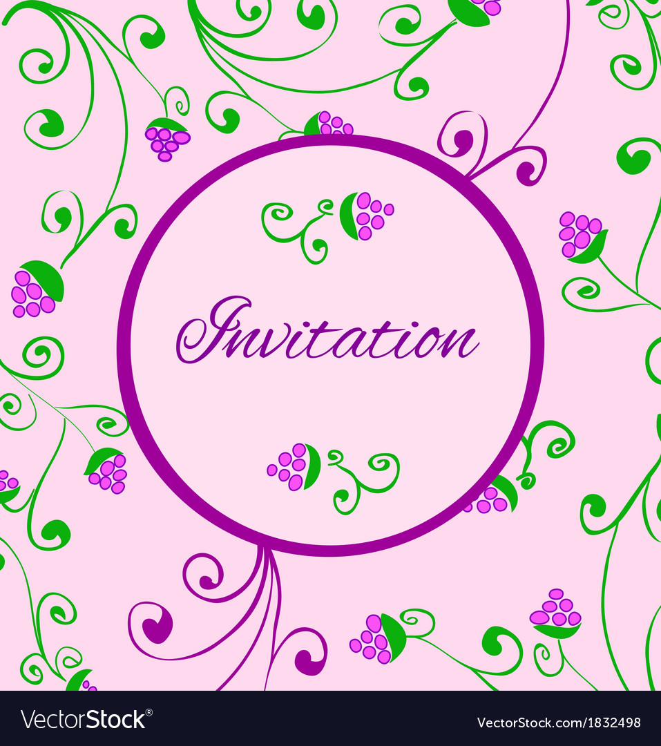 Retro style invitation card with hand draw grapes vector | Price: 1 Credit (USD $1)