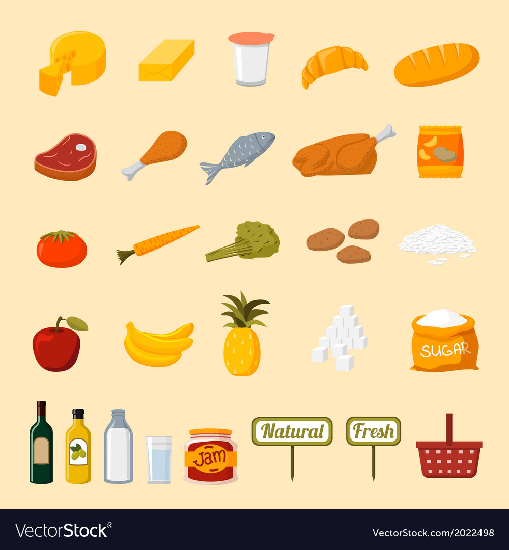 Supermarket food selection icons vector | Price: 1 Credit (USD $1)
