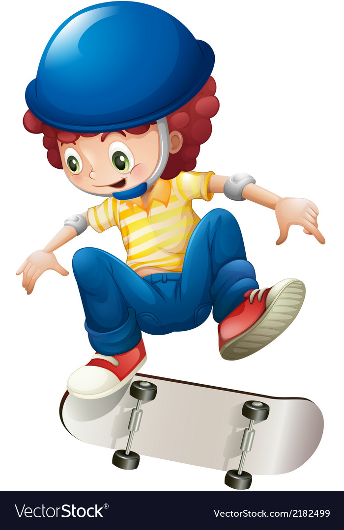 An energetic young boy skateboarding vector | Price: 1 Credit (USD $1)