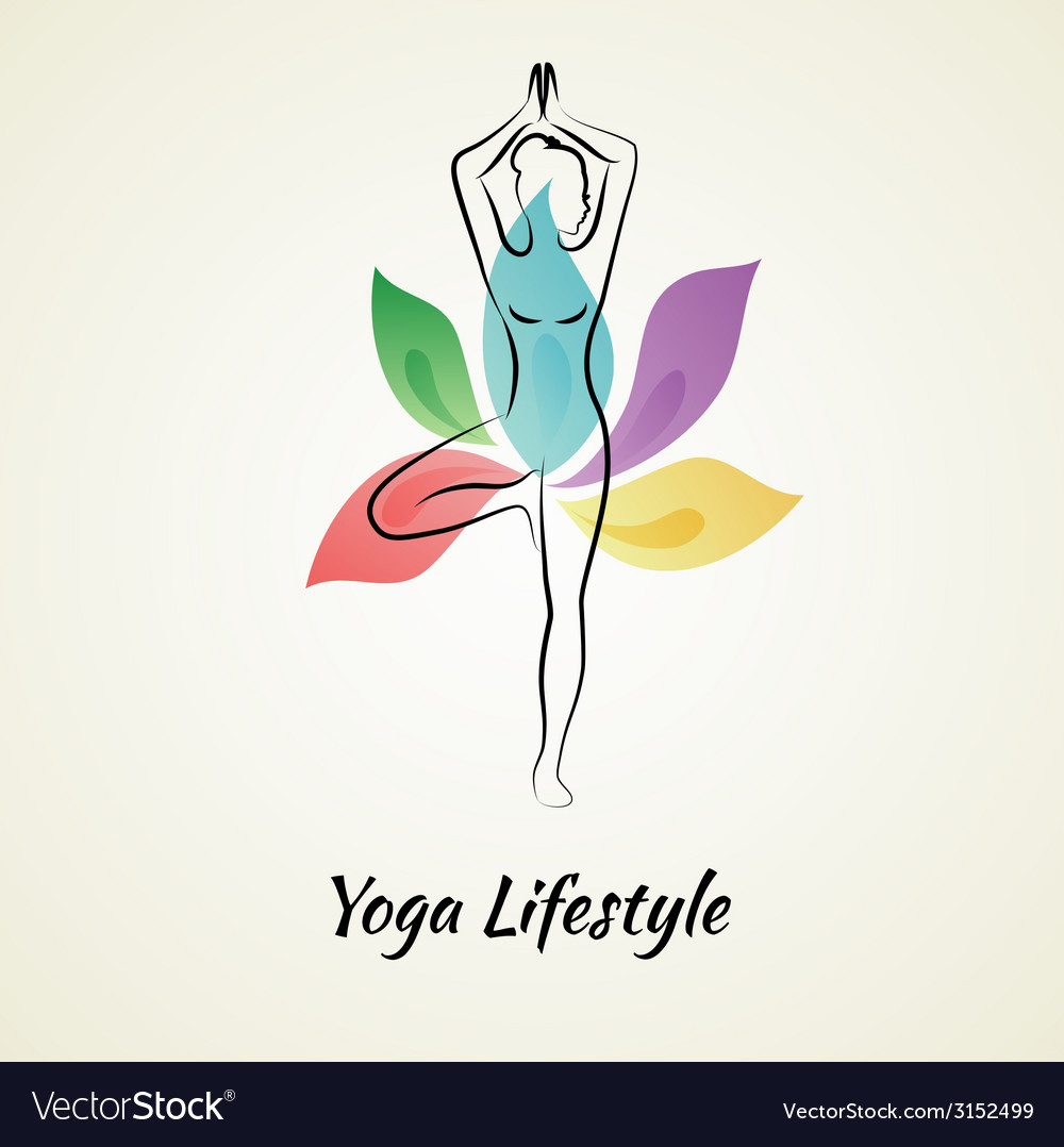 Beautiful woman doing yoga vector | Price: 1 Credit (USD $1)