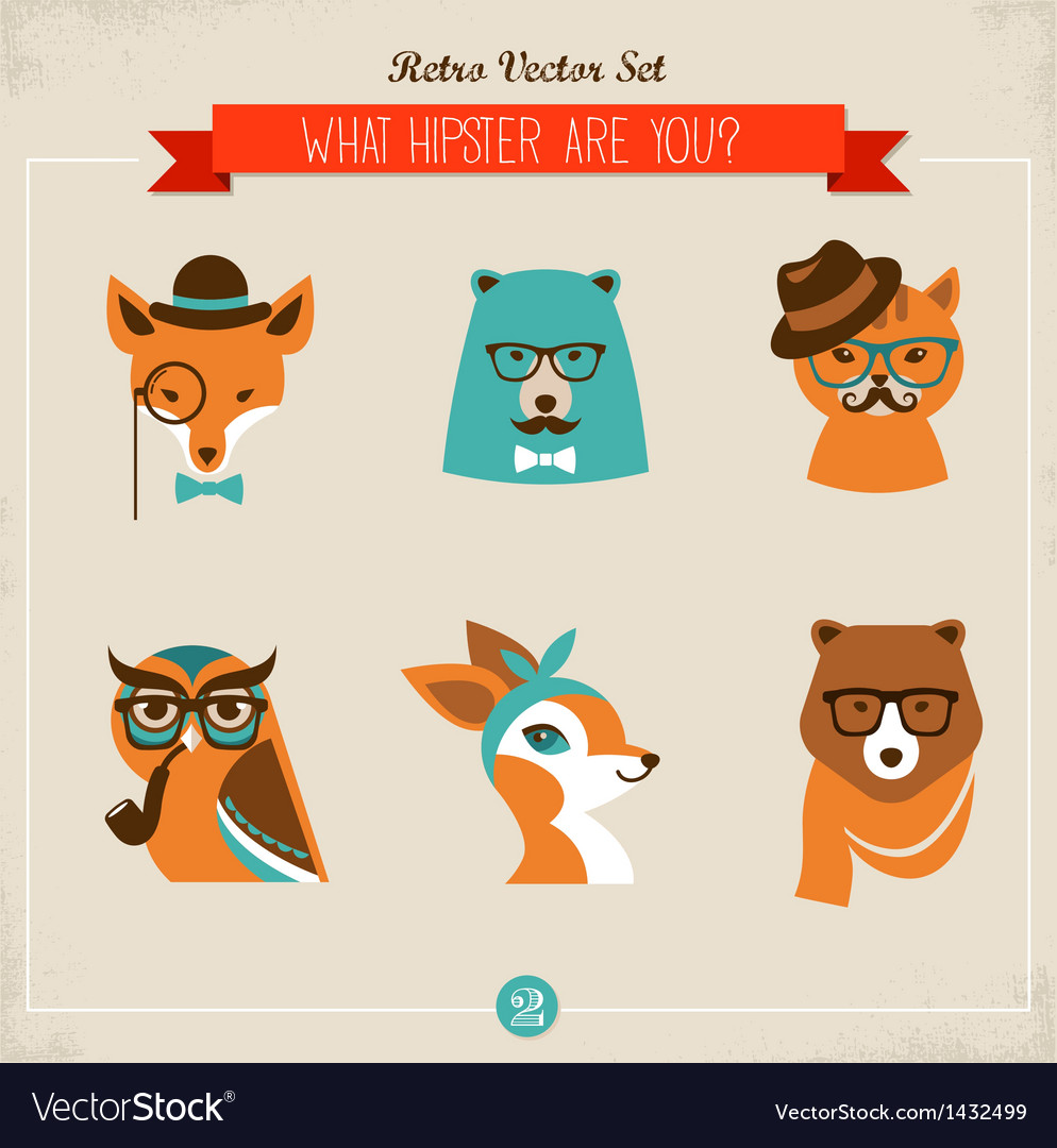 Cute fashion hipster animals  pets vector | Price: 3 Credit (USD $3)