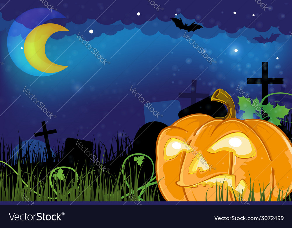 Evil jack o lantern on a cemetery vector | Price: 3 Credit (USD $3)