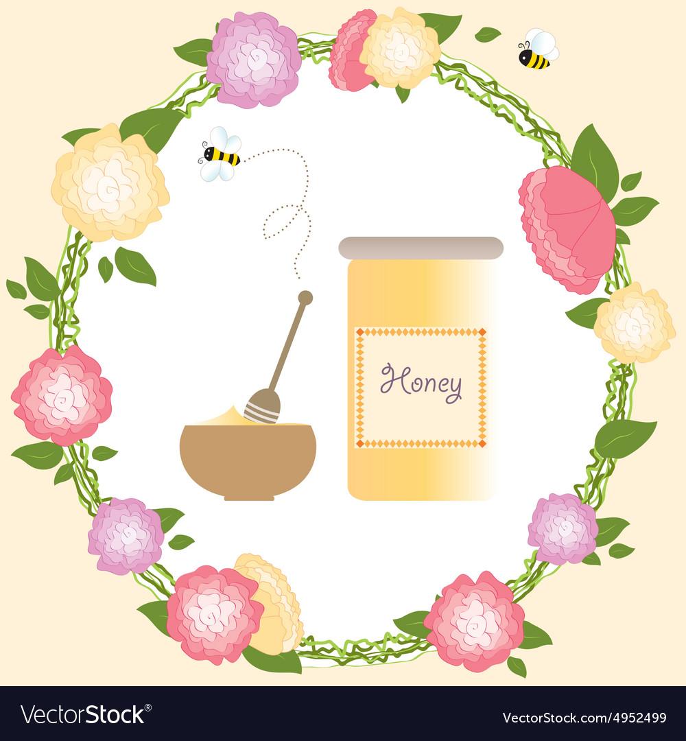 Flower frame bio bee honey romantic roses wreath vector