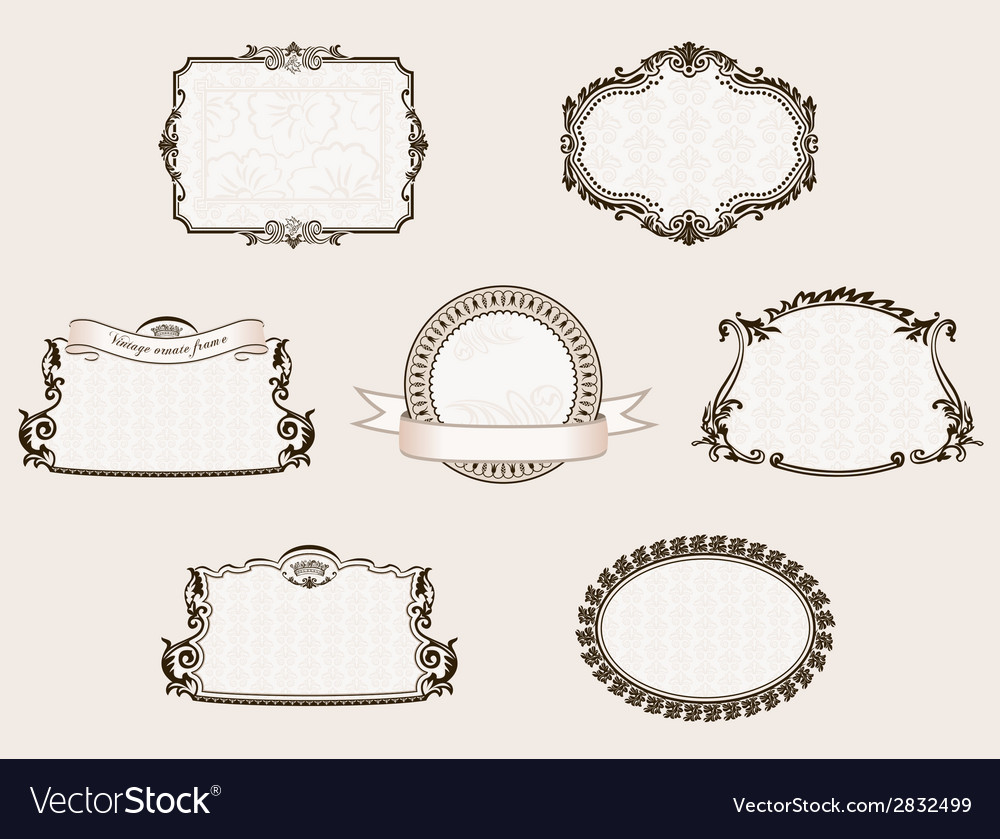 Framework set ornate and vintage decor elements vector | Price: 1 Credit (USD $1)
