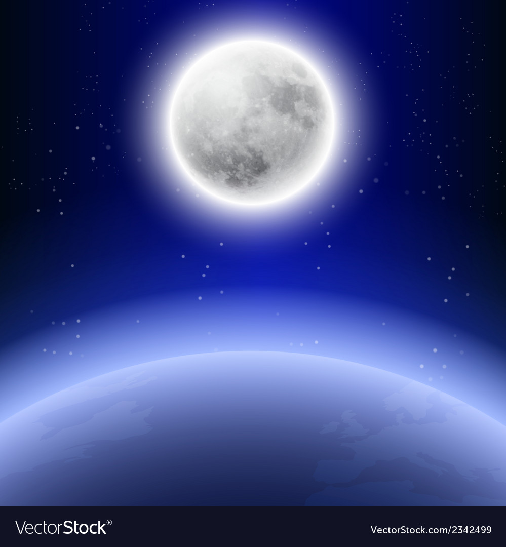 Full moon in the night sky vector | Price: 1 Credit (USD $1)