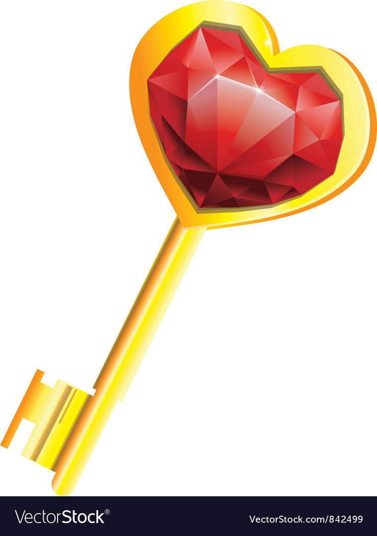 Golden key with diamond heart vector | Price: 1 Credit (USD $1)