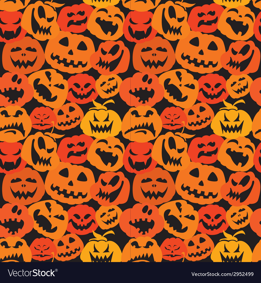 Halloween seamless pattern with pumpkins faces vector | Price: 1 Credit (USD $1)