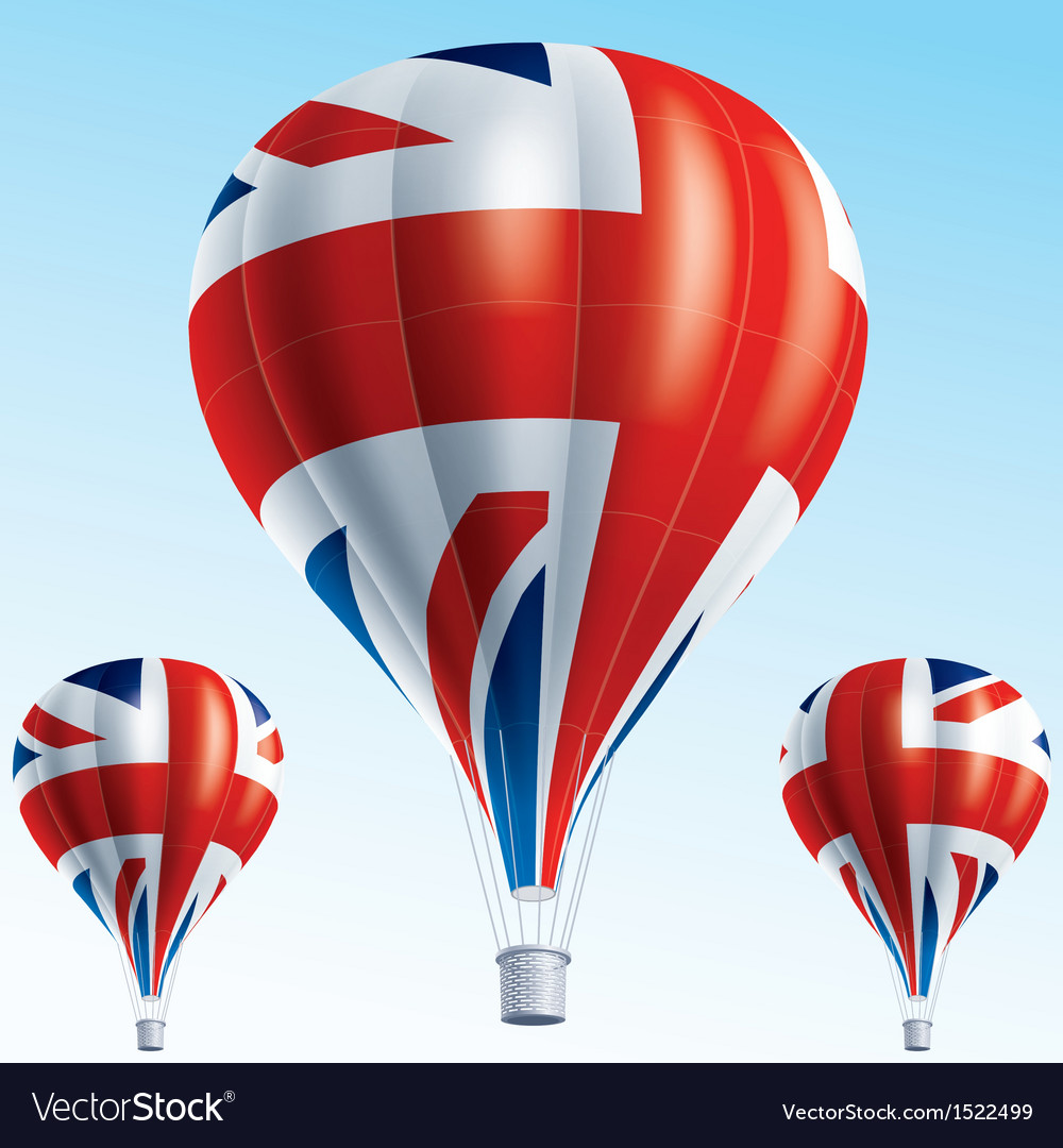 Hot balloons painted as british flag vector | Price: 3 Credit (USD $3)