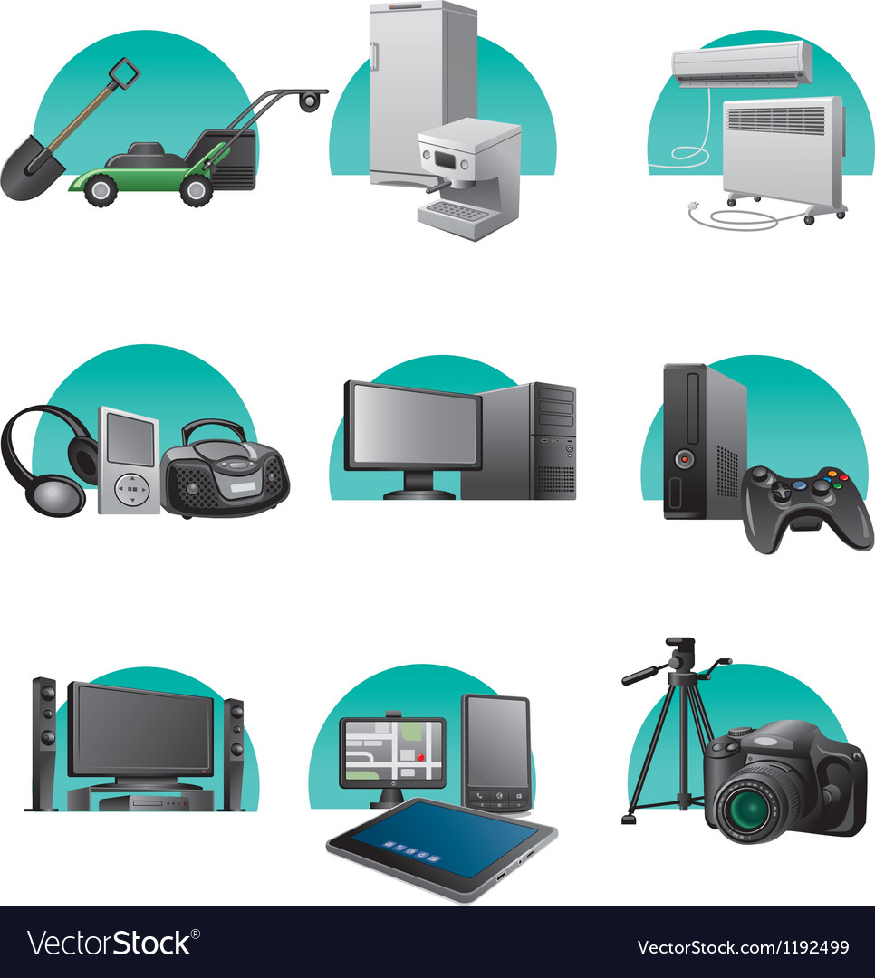 Household and electronic appliances icon set vector | Price: 3 Credit (USD $3)