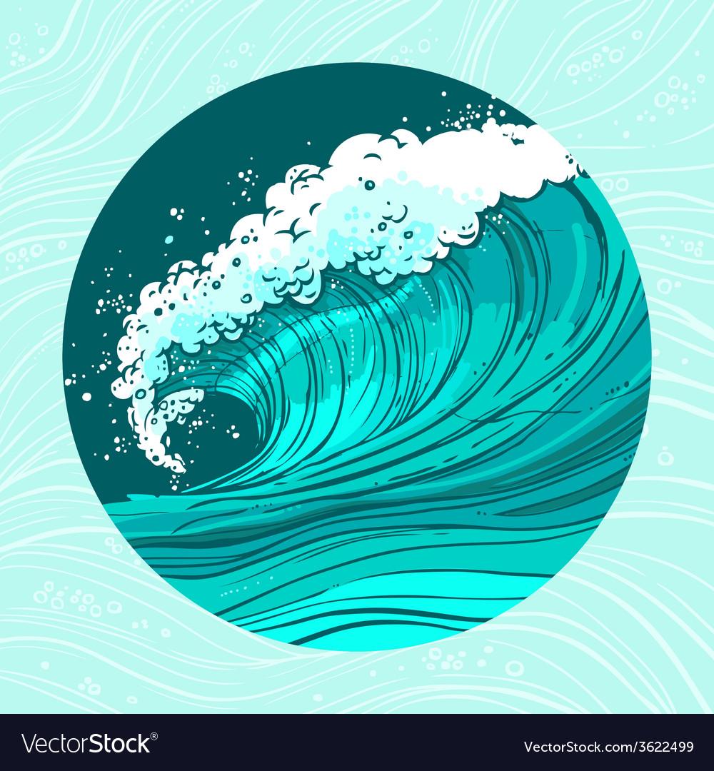Sea waves circle vector | Price: 1 Credit (USD $1)