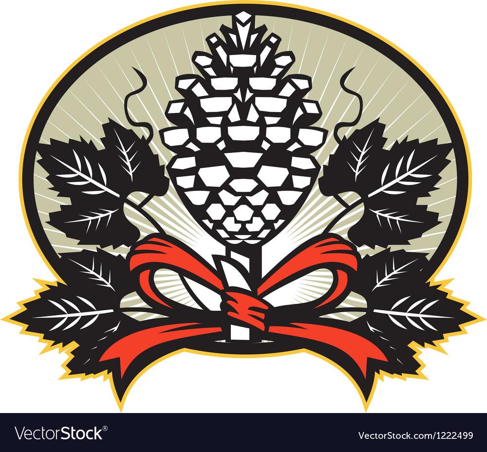 Thyrsus pine cone staff leaves retro vector | Price: 1 Credit (USD $1)