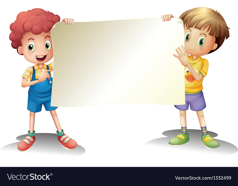 Two young boys holding an empty signage vector | Price: 1 Credit (USD $1)