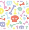 Skulls and bones white pattern vector