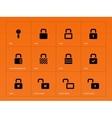 Locks icons on orange background vector