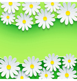 Floral green background frame with 3d chamomile vector