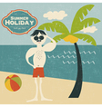 Retro man on the beach vector