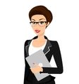 Business woman is wearing black suit isolated on vector
