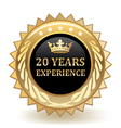 Twenty years experience badge vector