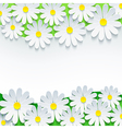 Floral background frame with 3d flower chamomile vector