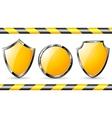 Yellow steel shields vector