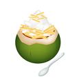 Coconut ice cream with jackfruits vector