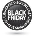 Black friday huge discounts icon vector