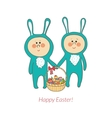 Cute bunnies with a basket in hand with eggs vector
