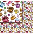 Seamless coffee cups pattern vector