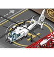 Isometric white helicopter landed in front view vector
